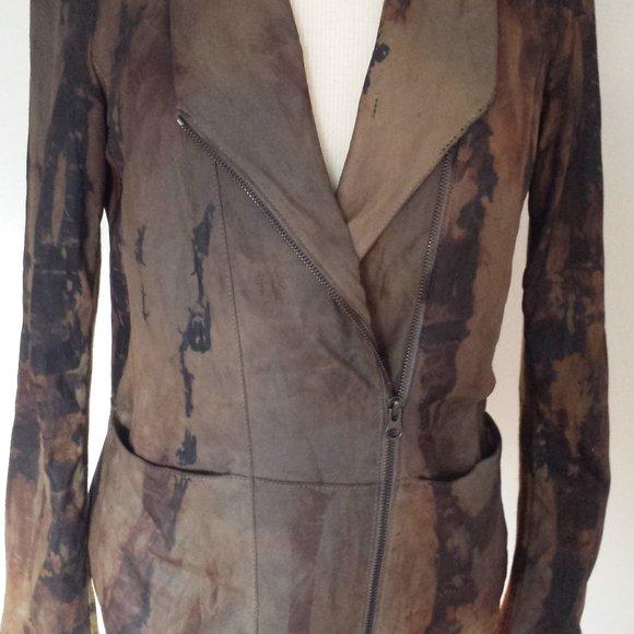 Vince Moto leather Jacket bomber safari crossover